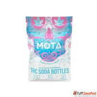 MOTA Blue Sour Raspberry Soda Bottles – 100mg THC Or 300mg C...