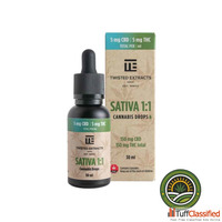 TWISTED EXTRACTS – CANNABIS DROPS SATIVA : CBD – 1:1
