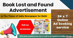 Find TOI Delhi Lost and Found Classified Advertisement